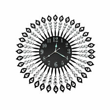 Wall Clock Silent Large Home Office Decor Round Luxury Modern Battery Black