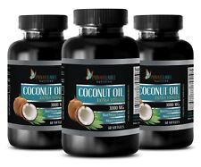 Pure Coconut Oil 3000mg Extra Virgin Fatty Acids Non-GMO 3 Bottles, 180 Capsules