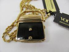Swarovski Signed Crystal & Black Enamel Purse Handbag Necklace Pendant NWT