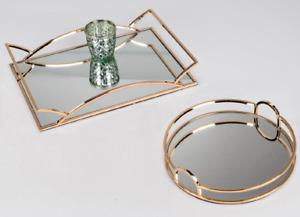 formano Tablett 28cm Spiegel gold Metall mit glänzender, vergoldeter Obefläche