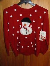 """""""UGLY"""" CHRISTMAS SWEATER - WOMEN - """"SNOWMAN"""" - RED - SIZE X-LARGE  (XS-5-XL)"""
