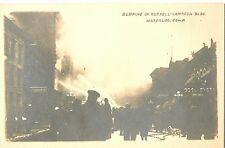 View of the Fire, The Burning of the Russell-Lampson Building, Waterloo IA RPPC
