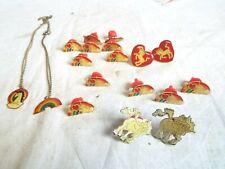 New listing Small Lot of Vintage Various Enamel Pins Pendants, Unicorn/Pegasus
