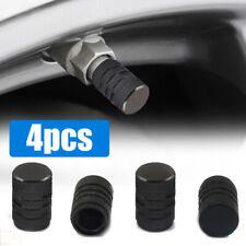 4X Aluminium Car Wheel Tyre Valve Stems Air Dust Cover Screw Cap Accessory Black