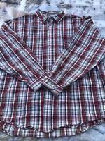 Mens Eddie Bauer Button Front Flannel Shirt Long Sleeve Red Plaid XXL 100%Cotton