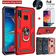 For SAMSUNG GALAXY A20 A20s A50 Stand Case Defender Cover+Full Tempered Glass