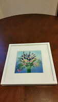 Framed And Matted Floral, Painted Glass