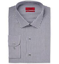 $95 ALFANI Men FITTED WHITE BLACK CHECK LONG-SLEEVE DRESS SHIRT 16-16.5 36/37 L