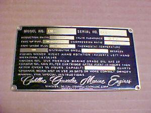 Cadillac Crusader Marine Engine Data Plate Etched Brass - black background