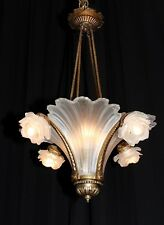 Antique bronze French Art Deco glass slip shade chandelier France