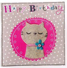 Gato Gris Tarjeta De Cumpleaños Arte de fieltro adornado handfinished tarjetas de felicitación