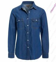 Womens Denim Vintage Shirt Ladies Indigo Jean Shirts Size 10 12 14 16 New