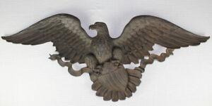 "Vintage Syroco American Bald Eagle w shield wall plaque 45"" 3762 Bellamy style"