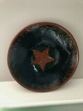 FOLTZ POTTERY BLUE RED STAR REDWARE BOWL/PLATE 7 1/4""