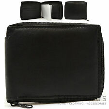 Mens 100% Soft Leather Zip Around Bi-Fold Wallet with Multiple Features