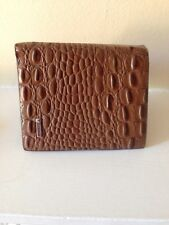mens brown crocodile pu skin leather three quarter size tall wallet new for 2016