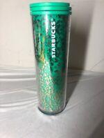 Starbucks Green & Gold Foil Tumbler Coffee Tea Travel Cup 16oz Holiday