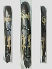 """CARVED WOOD AFRICAN MASK w LIZARDS/OPEN MOUTH & EYES WALL DECOR/39"""" x 6"""" x2""""deep"""
