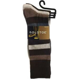 GOLD TOE Men's 3-Pack Cotton Casual Socks, Striped/Tan/Brown. Size 6-12.5