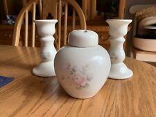 "Pfaltzgraff Ceramic Tea Rose Floral Candle Sticks 5"" Set Of 2 & Potpourri Holder"