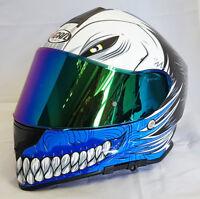 3ad67eca VCAN V127 HOLLOW BLUE MOTORCYCLE FULL FACE PINLOCK READY HELMET + IRIDIUM  VISOR