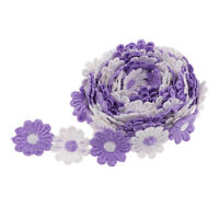 2 yd Embroidered Violet Daisy Lace Edge Ribbon Wedding Applique Sewing Craft