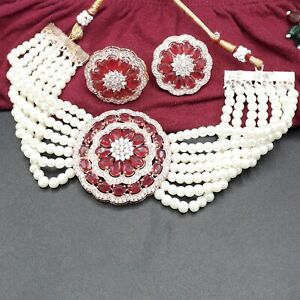 CZ Indian Bollywood Wedding Rose Gold Tone Red Choker Pearl Necklace Jewelry Set