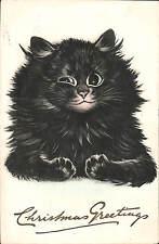 Louis Wain Black Cat. Christmas Greetings by Verdier. Unsigned.