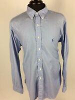 Mens Polo Ralph Lauren Dress Shirt Button Down Light Blue Size 17 36/37