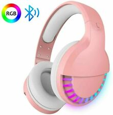 Wireless Bluetooth Gamer Headset Headphones Stereo for w/Mic PC RGB Backlit Pink