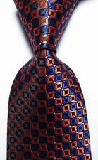 New Classic Checks Dark Blue Gold White JACQUARD WOVEN Silk Men's Tie Necktie