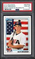 (2) CARD LOT 2010 Bowman #BDPP95 ALEX BREGMAN Draft Picks & Prospects PSA 10