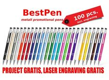 100 Metal Pens with Engraving. Promotional Personalised Metal Ballpoint Pens.