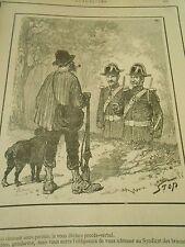 Typo 1890 - Chasser sans permis procès verbal syndicat des braconniers