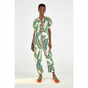NWT 🌺 FARM Rio Anthropologie Forest Palm Linen Jumpsuit Size S