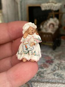 Vintage Artisan Miniature Dollhouse Judy Smith Sculpted Clay Nanny Nurse Rabbit