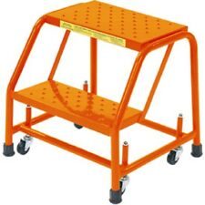 """NEW! Perforated 16""""W 2 Step Steel Rolling Ladder 10""""D Top Step!!"""