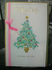 TO MY WIFE WITH ALL MY LOVE CHRISTMAS CARD AMERICAN GREETINGS NEW UNUSED GOLD