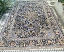 More details for beautiful handmade blue & green large rug 100% wool