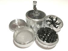 "Sharpstone Version 2.0 2.5"" Inch Crank Top Herb Large Silver Grinder 4pc Extras"