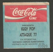 Argentina Iggy Pop Concert Ticket Stub 1993