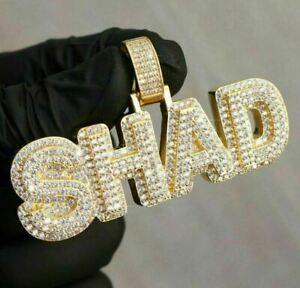 "Round Diamond ""SHAD"" Custom 4-Letters Men's Pendant 14k Yellow Gold Over"
