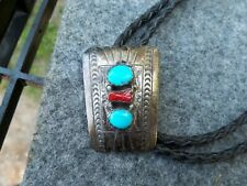 Vintage Sterling Silver Necklace Bolo Tie Turquoise & Leather Braid FREE