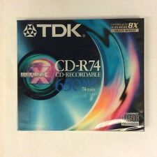 TDK CD-R74, 650MB, CD-RECORDABLE, 74 MIN, 8x MULTISPEED New & Sealed Blank Disc