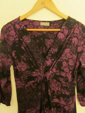 M&S Per Una Black & Purple Floral 3/4 Sleeve Stretchy Dress in Size 12 R