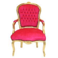 CHAIRS FRANCE BAROQUE STYLE LADY CHAIR WITH ARMRESTS GOLD / FUCHSIA #55F3