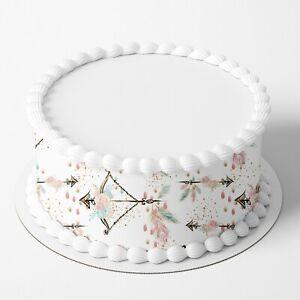 Boho Tribal Edible Icing Image Cake Wrap Topper