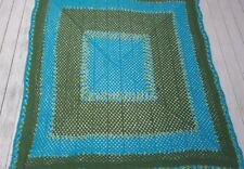 """New KING SIZE Peacock TEAL Green Afghan Bedspread Crochet Granny Square 84 x 84"""""""