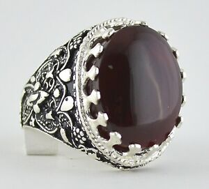 Yemeni Red Aqeeq Aqiq Agate, Yemen Sterling Silver Men Ring خاتم عقيق كبدي يماني