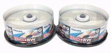 50 PHILIPS 4X DVD+RW DVDRW ReWritable Disc 4.7GB Branded Logo Disc + 50 Sleeves